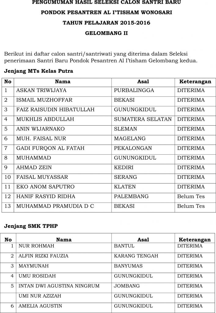 PENGUMUMAN PSB GELOMBANG 2_2014-2015 #1